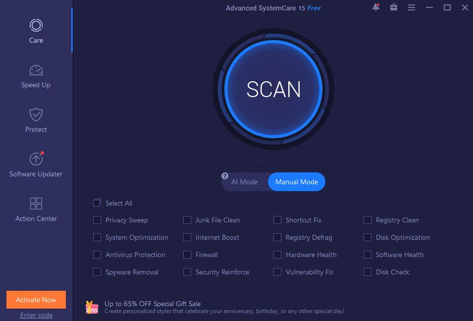 Advanced SystemCare freeware screenshot