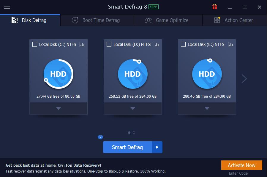 Smart Defrag freeware screenshot