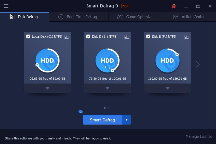 main-screen IObit Smart Defrag Pro keygen