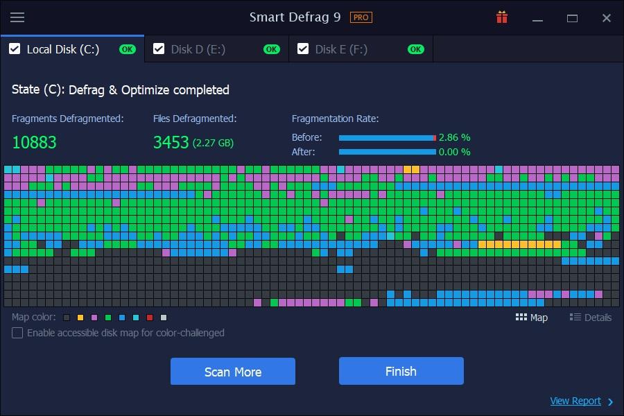 result-screen IObit Smart Defrag Pro crack
