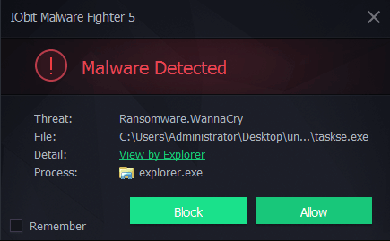 WannaCry detected