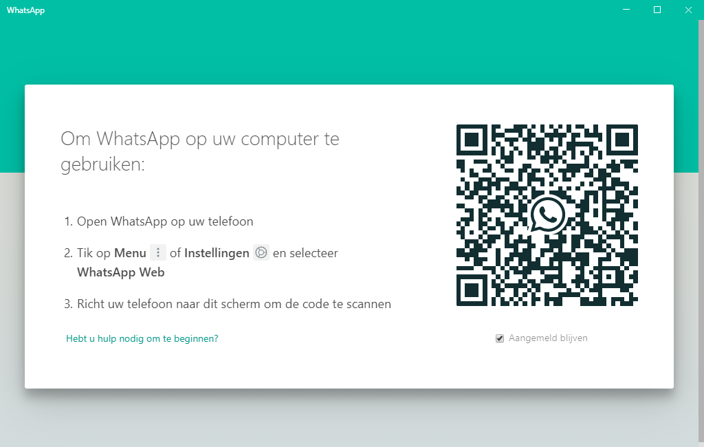 Scan de QR code met uw telefoon om WhatsApp op uw Windows computer te gebruiken