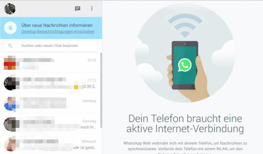 Scannen Sie den QR Code and benutzen Sie WhatsApp auf dem PC