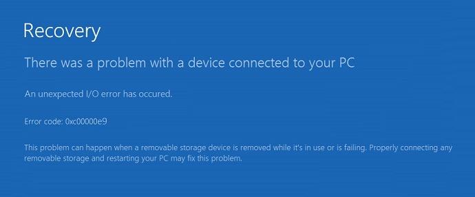 Как исправить ошибку 0xc00000e9 в Windows 10