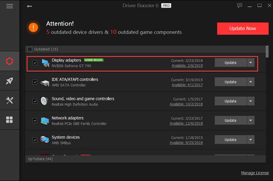 Используйте Driver Booster для обновления графических драйверов NVIDIA