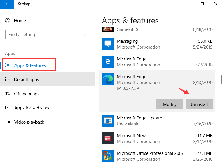 Désinstaller Microsoft Edge à partir des Paramètres