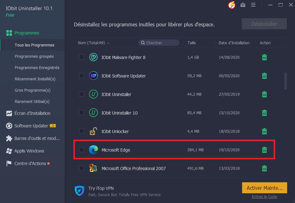 Désinstaller Microsoft Edge à l'aide d'IObit Uninstaller
